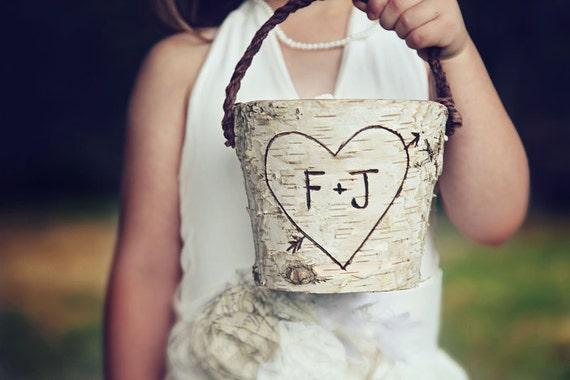Personalized Rustic  Birch Flower Girl Basket Wedding Woodland Cottage Chic