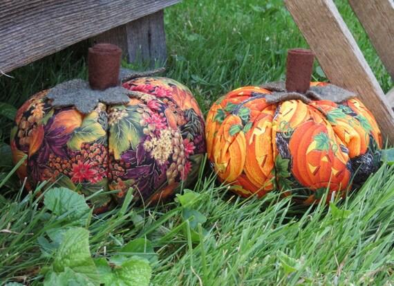 Primitive Autumn Gourds Mini Pumpkins set of 2