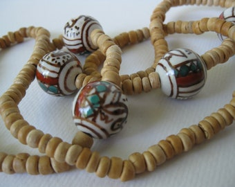 Vintage African Wood and Ceramic Beads Necklace