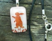 Standing Rabbit in Pink and White, Fused Glass Pendant