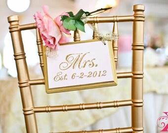 Glitter Wedding Signs Gold Wedding Decor Mr and Mrs Signs Cinderella Wedding Fairytale