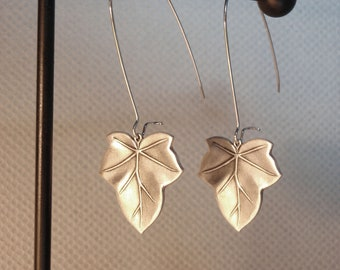 Satin silver leaf / leaves earrings - Surgical Steel ear posts, Nickel free and Lead free