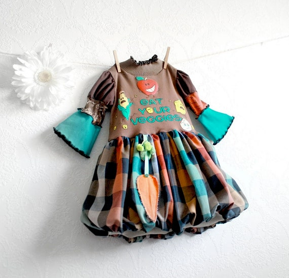 Upcycled Brown Plaid Toddler Dress 2T Kid's Clothes Bubble Skirt 'Eat Your Veggies' Girl's Clothing Teal Green Fall Colors 'STELLA'