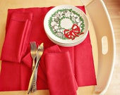 Christmas Red Vintage Cloth Holiday Napkins - Set of Six