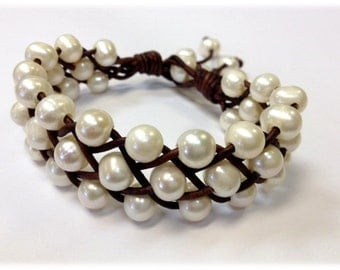 Freshwater Pearl and Leather Bracelet - Orrawee B