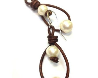 Pearl and Leather Earrings - Genuine Freshwater Pearl (5430)