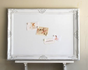 Decorative WHITEBOARD Dry Erase Board Kitchen Organizer White Magnetic Bulletin Board Office Shabby Playroom Decor- MORE COLORS