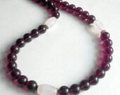 Amethyst Gemstone Necklace Pink Rose Quartz Beaded Jewelry - Perfect Match