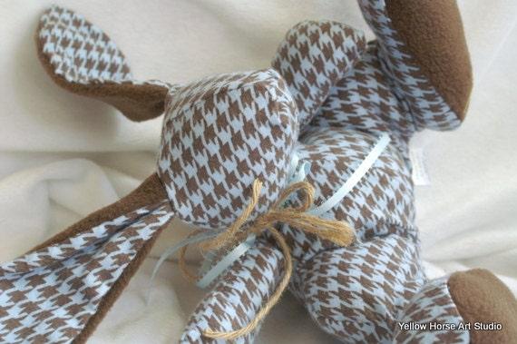 Phat B bunny plush  - baby blue herringbone flannel
