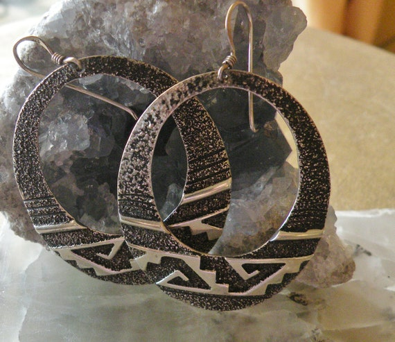 Oxidized Sterling large Silver Hoops
