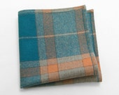 Men's Wool Pocket Square in teal, peach,and oatmeal - goodsforlife