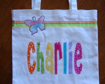 Large Personalized Tote with Ribbon & Butterfly Applique - kids book bag girl library school name custom birthday gift wedding flower  purse