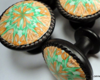 Cabinet Knobs Pulls decorative handmade dresser drawer knobs 6 Tangerine orange and Green  18 Available      Polymer Clay over metal