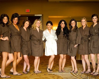 9 Spa Robes Wedding Party Personalized Bridesmaids Robes Front embroidery is included on all robes