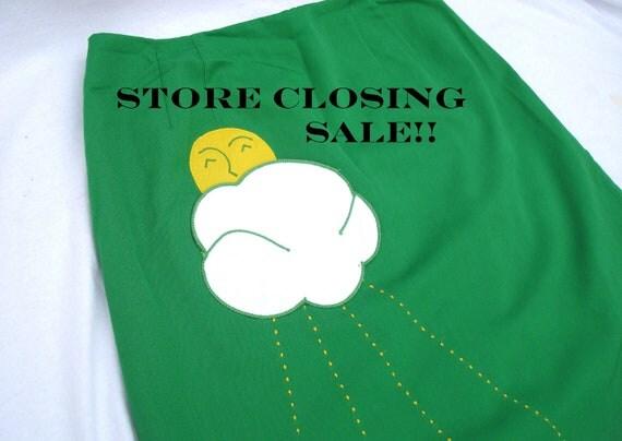 Store Closing Sale--Vintage Skirt Green Sunshine and Cloud applique Skirt/Skort 1970s 1980s- Store Closing Sale