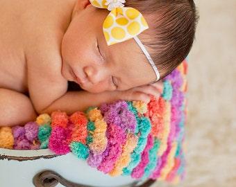 Pom Pom Blanket - Bucket Basket Filler - Newborn Photo Prop