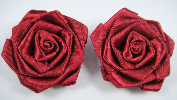 2 Wine Red Satin Ribbon Rosette Flower Rose Applique - Headband Embelishment Craft Scrapbooking Hat Millinery Hair Fascinator Jewelry Brooch