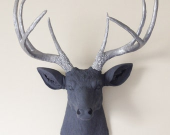 Charcoal and Silver Deer Head Wall Mount