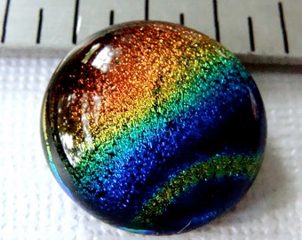 Fused Dichroic Glass Cabochon 18 mm Bohemian Rainbow