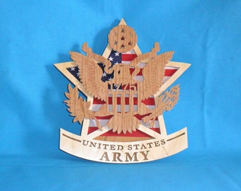United States Army Scroll Saw Military Plaque