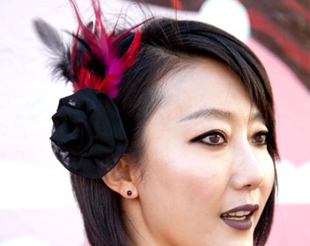 Feather Barrette - Pink, Red and Black Feathers with Tulle Flower Fascinator