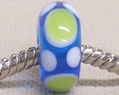 SRA Glass Handmade Lampwork Bead Large Hole Lampwork European Charm Bead Transparent Light Blue with White and Light Green Dots
