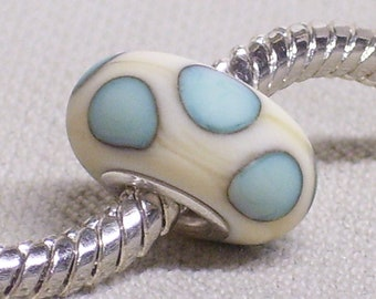Handmade Lampwork Bead Etched European Charm Bead Ivory with Copper Green Dots Silver Cored