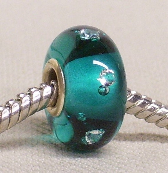 Transparent Teal Green Lampwork Bead with 5 Clear White CZ Silver Cored European Charm Bead