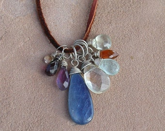 Gem Cluster Silver and Leather Necklace