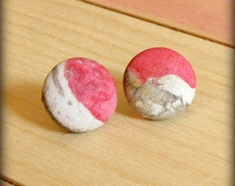 Button Earrings ,Silk Fabric in shades of  Pink and Gray