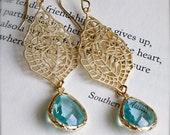 India Inspired Golden Earrings with Aquamarine Bezel Set Glass