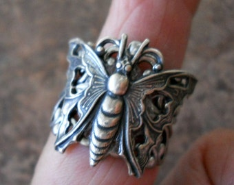 Art Deco Butterfly Ring-Antiqued Pewter- EXCLUSIVE DESIGN