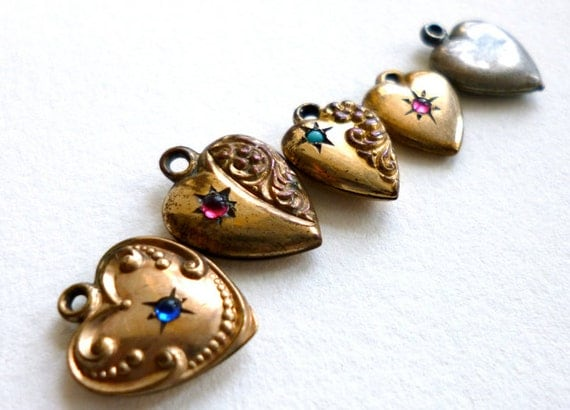 Antique 5pc Victorian Tiny Heart Charm Puffy Doll