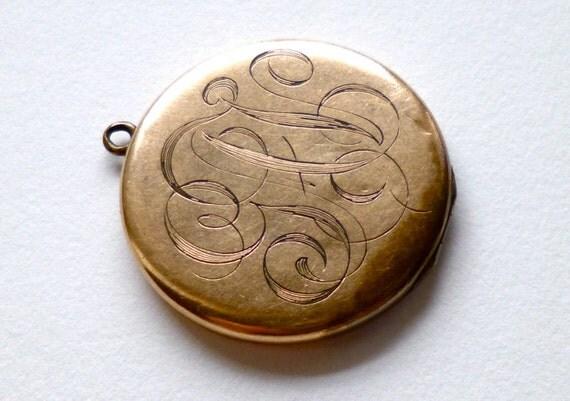 SALE Victorian Gold Monogram Locket Large Monogrammed