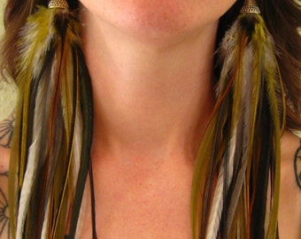 Olive Warrior Princess Long Feather Earrings