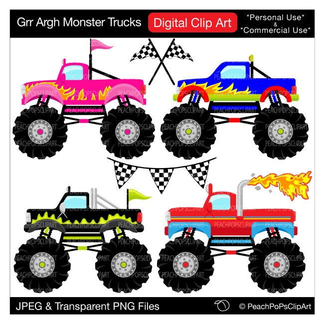 monster trucks clipart digital clip art Grr by peachpopsclipart