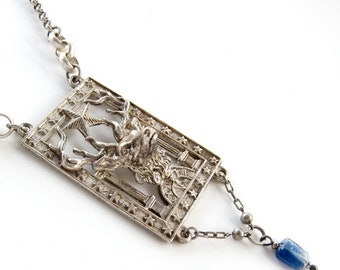 Blue Hart — vintage 3-D stag assemblage necklace
