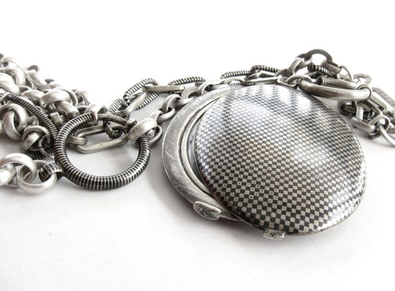 """antique slide mirror locket and chains """"Through the Looking Glass"""" assemblage necklace"""
