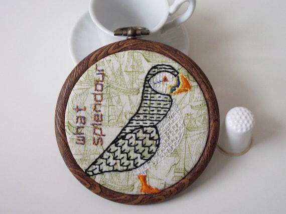 Birdseeker Puffin. Hand Embroidery. Blackwork. Bird.