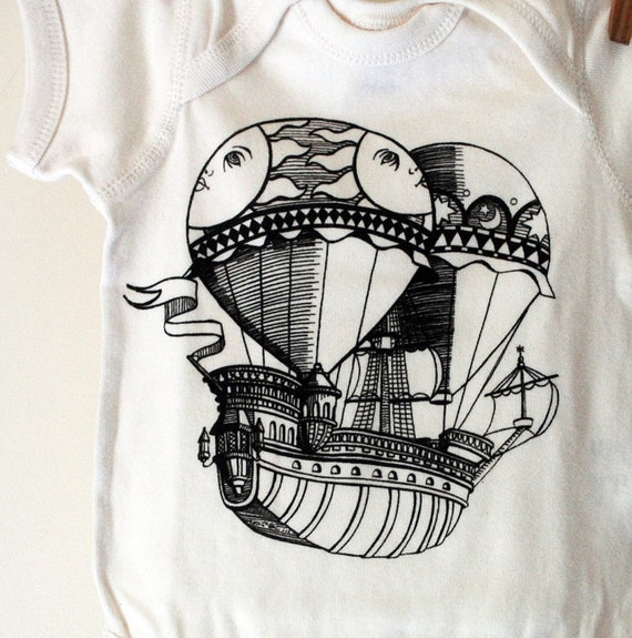 Certified Organic Baby Onesie with original Balloon Ship screen print