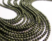 Russian Serpentine - 4 mm round beads -1 full strand - 95 beads - A quality