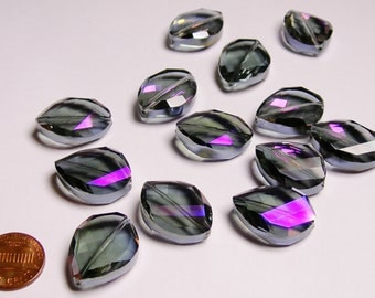 Crystal faceted oval beads 6 pcs 24mm by 18mm AA quality - sparkle smoky dark purple