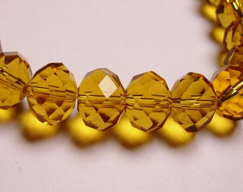 Crystal faceted rondelle -  20 pcs - 12mm by 9mm - AA quality - Amber color