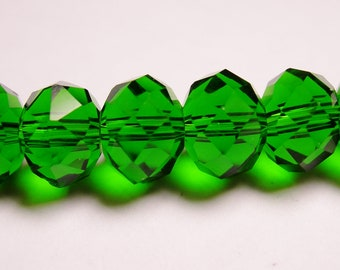 Crystal faceted rondelle -  25 pcs - 10mm by 7mm - AA quality - Dark green