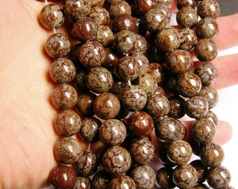 Obsidian 12 mm AA quality - 33 beads per strand - full strand - brown snowflake obsidian