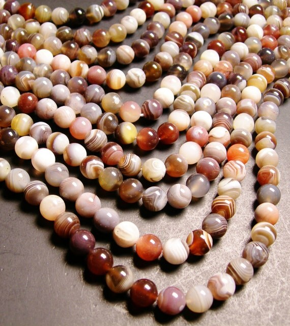 Botswana agate - 10 mm round beads -1 full strand - 40 beads - A quality