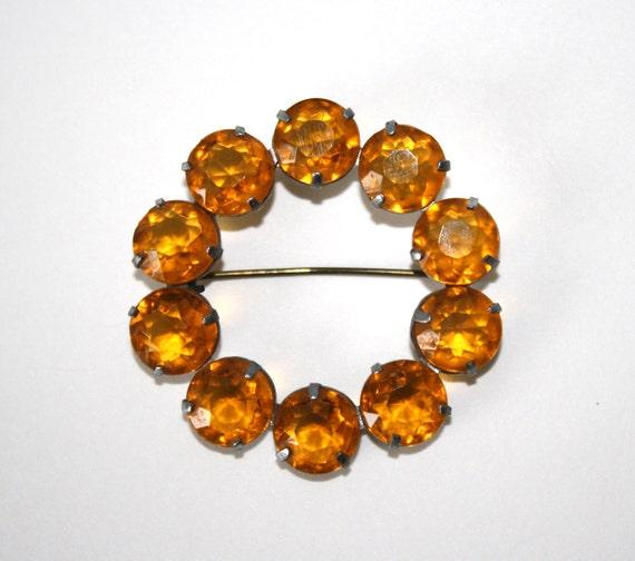 Vintage Amber Rhinestone Brooch