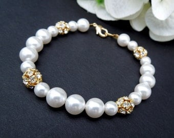 Bridal Pearl bracelet, Ivory Swarovski Pearls, Bridal Classic bracelet, Vintage Style, Bridesmaid bracelet, Wedding Pearl bracelet, CLAIRE