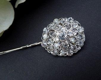 Vintage Style Wedding Hair Pin,Bridal Rhinestone Hair Pin,Silver Hair Pin, Wedding Rhinestone Hair Pin,Vintage Bridal Jewelry,Silver,MARCI