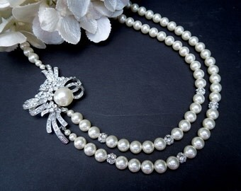 Bridal Necklace, Ivory Swarovski Pearls, Rhinestone Brooch, Bridal Rhinestone Necklace, Bridal Pearl Necklace, Bridal Brooch Necklace, KENYA